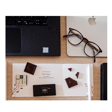 Carré chocolat bio avec carte publicitaire