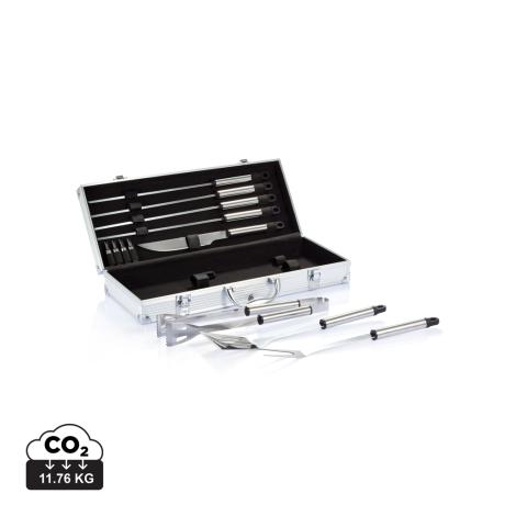 Set de 12 pièces pour barbecue en coffret aluminium personnalisable