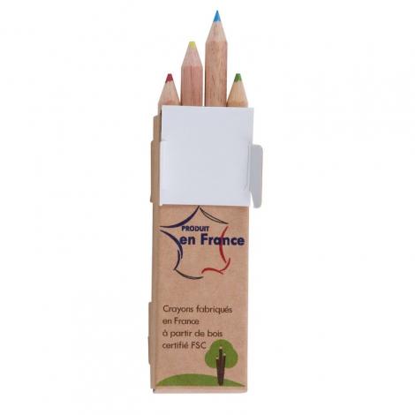 Etui publicitaire 4, 6 ou 12 crayons sans vernis Eco 8.7 cm