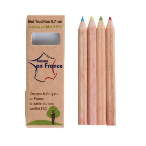 Etui carton 8.7cm 4 crayons