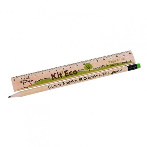 Règle publicitaire et crayon sans vernis - Eco