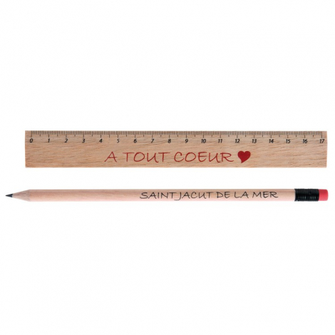 Kit-Eco publicitaire - règle et crayon, sans vernis
