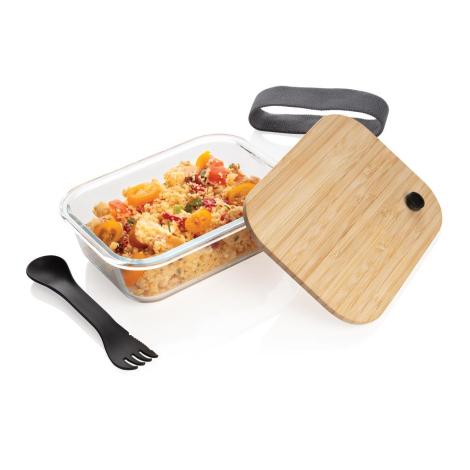 Boîte repas personnalisée en verre et bambou