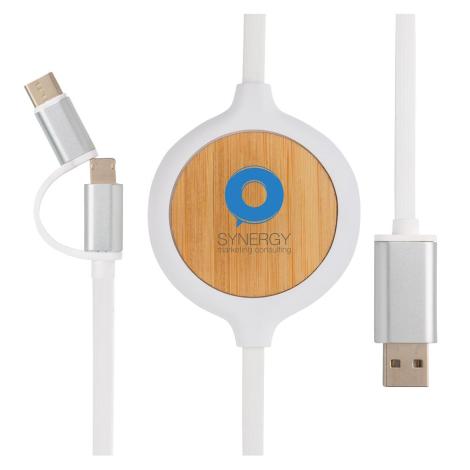 Câble 3 en 1 personnalisé chargeur sans fil Bambou