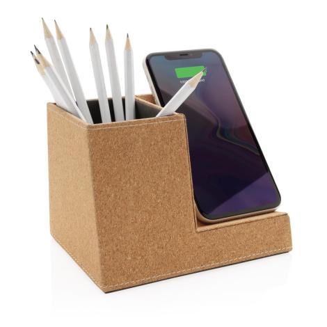 Chargeur induction publicitaire en liège avec pot à crayons