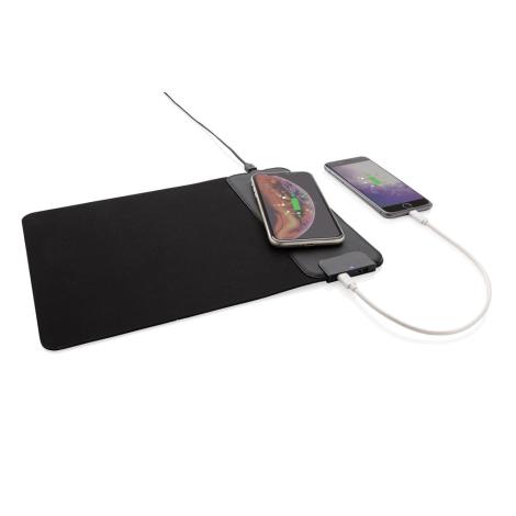 Tapis de souris publicitaire ports USB et chargeur induction
