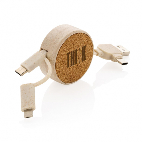 Câble rétractable 6 en 1 publicitaire en liège et fibre de paille