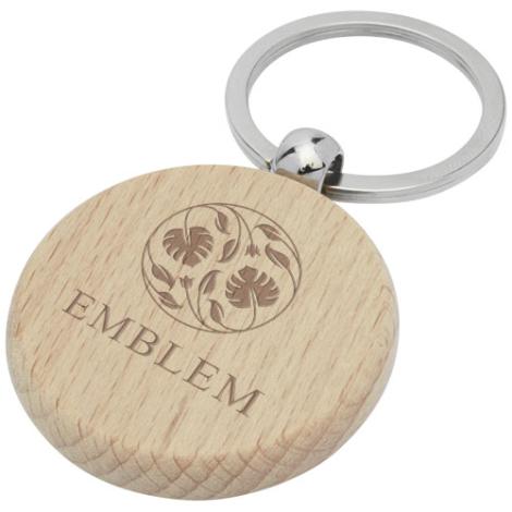 Porte-clés publicitaire bois de hêtre Giovanni