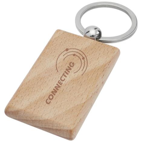 Porte-clés promotionnel bois de hêtre Gian