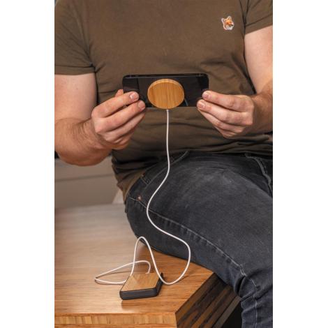 Chargeur magnétique publicitaire en bambou 10W