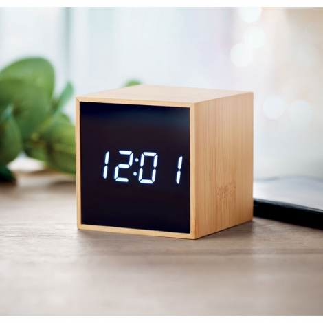 Réveil publicitaire design en bambou MARA CLOCK