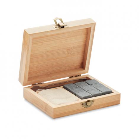 Set whisky avec boîte bambou publicitaire DUNDALK