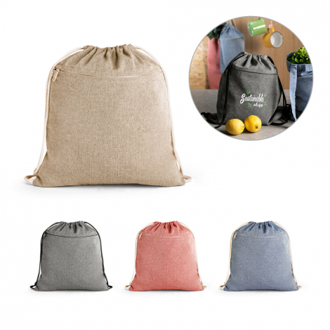 Gym bag toile de coton recyclé publicitaire CHANCERY