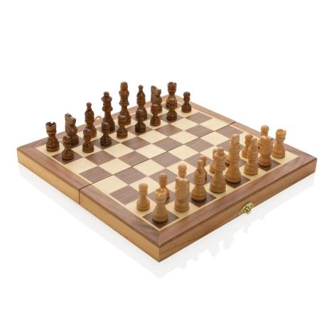 Jeu d'échecs pliable en bois publicitaire
