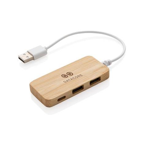 Hub avec Type C personnalisé en bambou