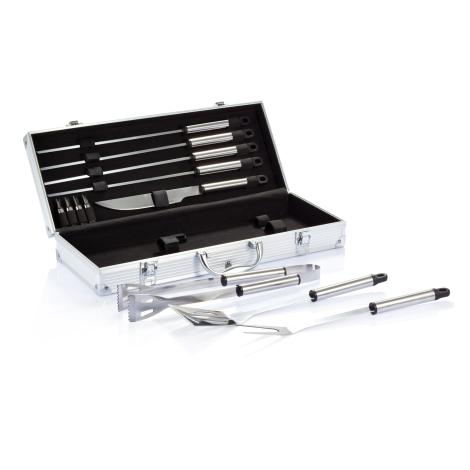 Set de 12 pcs pour barbecue en coffret aluminium