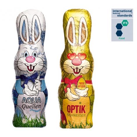 Lapin de Pâques publicitaire en chocolat au lait