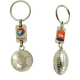 Porte-clés publicitaire ballon de foot ou rugby avec plaque