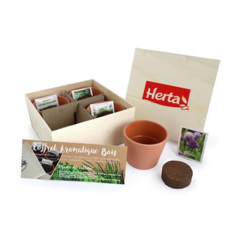 Kit de plantation - Coffret aromatique bois publicitaire