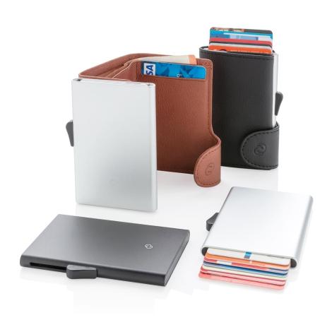 Porte-cartes publicitaire en aluminium anti-RFID C-secure