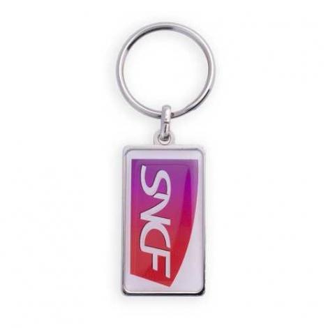 Porte-clés publicitaire en Zamac de forme rectangulaire
