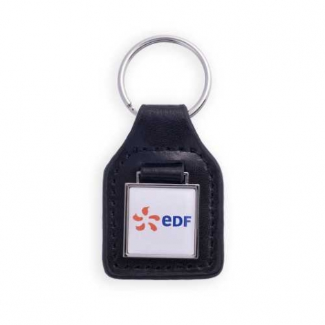Porte-clés en simili cuir - forme carrée
