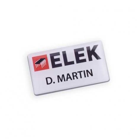 Badge aimanté rectangulaire et publicitaire