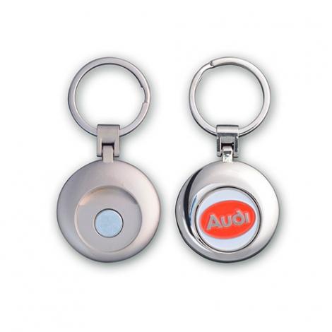 Porte-clés jeton publicitaire rond en métal