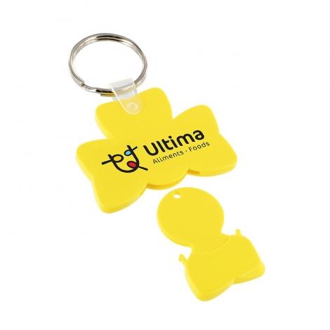 Porte-clés jeton en forme de trèfle publicitaire