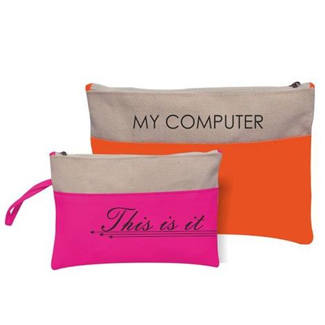 Pochette tablette publicitaire en coton 400 gr Bicolore