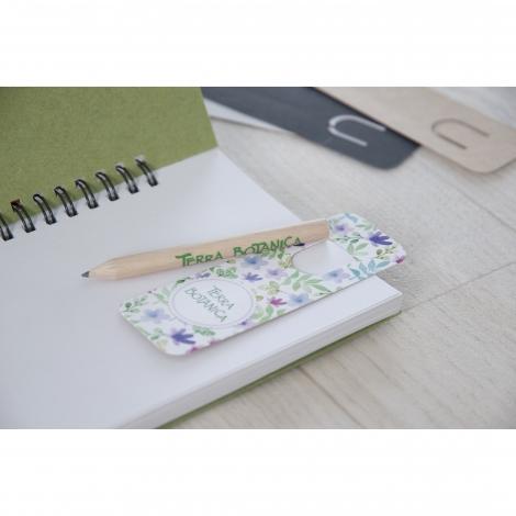 Kit marque-page publicitaire + crayon 8.7 cm ECO vernis incolore