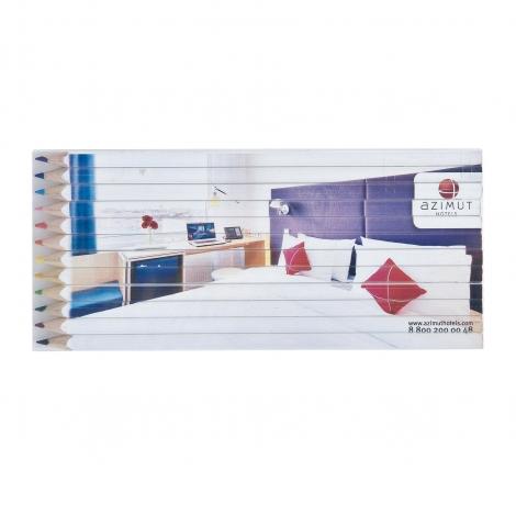 Set publicitaire 6 ou 12 crayons de couleur 17.6 cm
