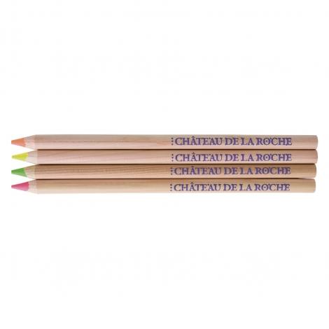 Sachet publicitaire de 4 crayons fluo Prestige 17.6 cm