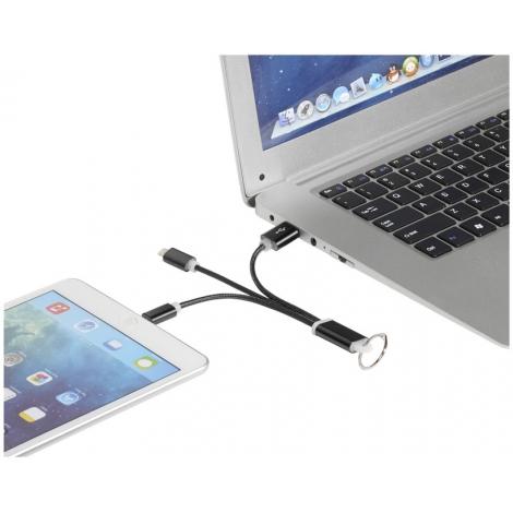 Câble de chargement publicitaire 3 en 1 avec porte clés en métal