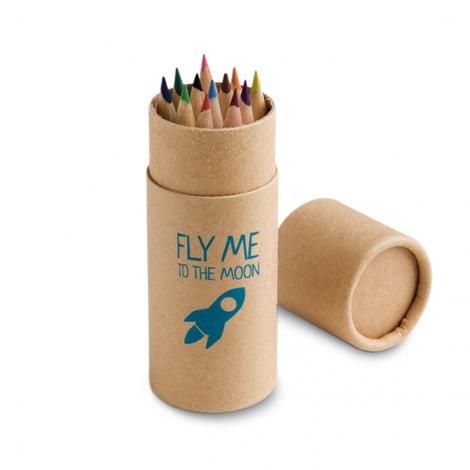 Tube publicitaire avec 12 crayons de couleur