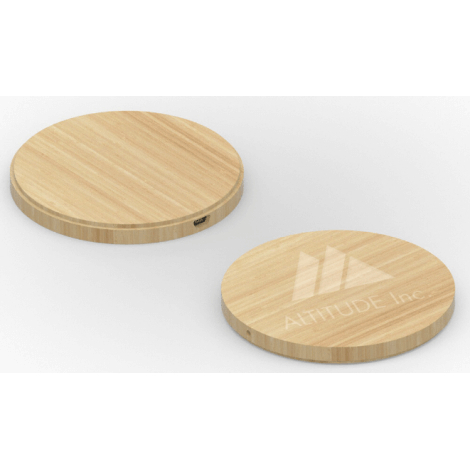Chargeur induction Wireless Bamboo Round personnalisable