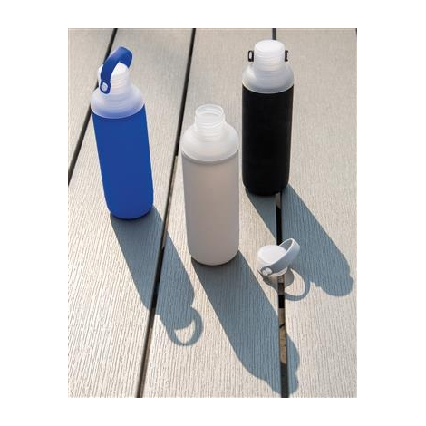 Bouteille d'eau en verre et silicone publicitaire