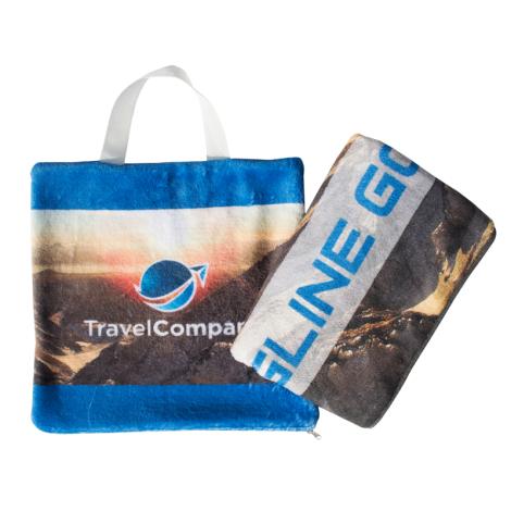 Plaid polaire publicitaire avec son sac de transport
