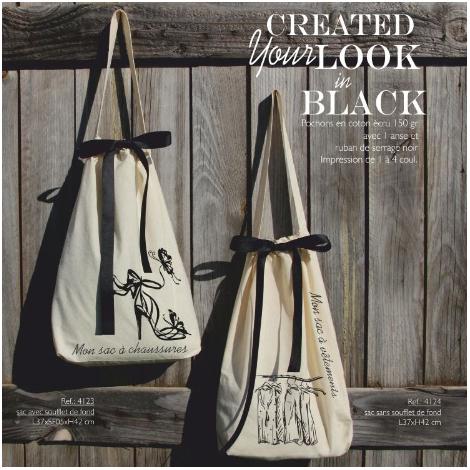 Pochon publicitaire en coton avec ruban - Black