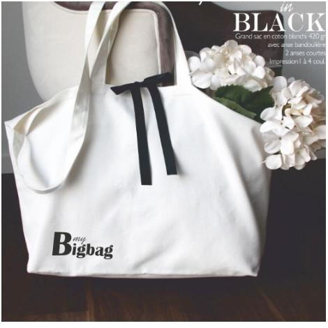 Sac personnalisable en coton 420 gr avec ruban - Black