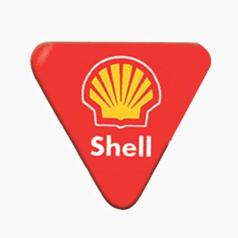 Badge publicitaire triangle avec épingle ou aimant