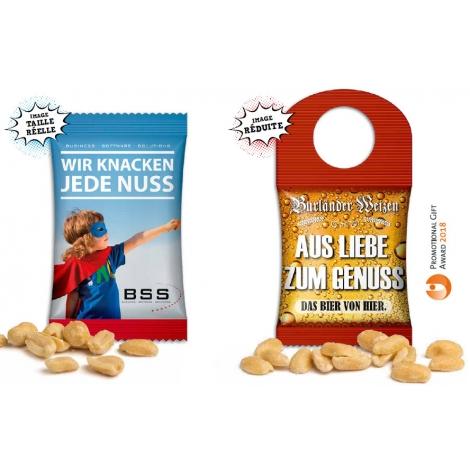 Cacahuètes en sachet bouteille publicitaire