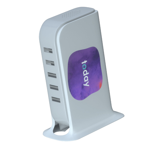 Station de recharge 5 USB publicitaire - Energy Tower
