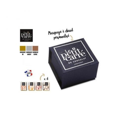 Coffret carrés de chocolat publicitaire Écrin