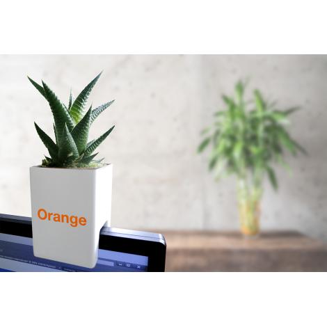 Le pot' Ordi publicitaire avec plante
