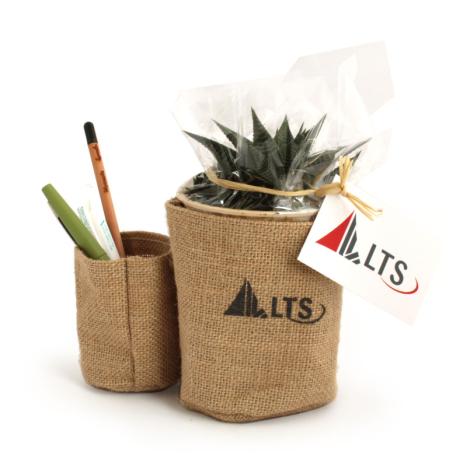 Pots en jute publicitaire avec plante