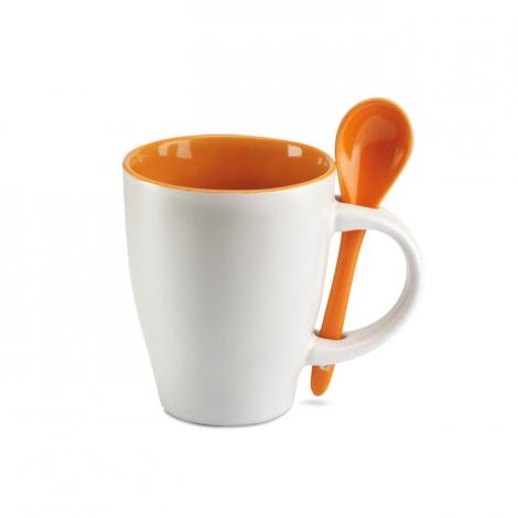 Tasse café publicitaire bicolore avec cuillère - Dual
